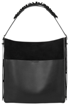 AllSaints Maya Leather North / South Tote Bag, Black