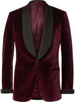 Kingsman Burgundy Slim-Fit Faille-Trimmed Velvet Tuxedo Jacket