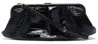 Balenciaga Cloud Xl Crocodile-effect Leather Cross-body Bag - Black
