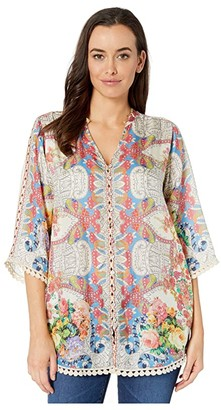 Johnny Was Blush Button-Down Blouse (Multi) Women's Clothing