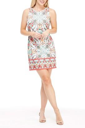 London Times Floral Paisley Sleeveless Sheath Dress (Petite)