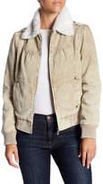 BNCI by Blanc Noir Faux Fur Collar Bomber Corduroy Jacket
