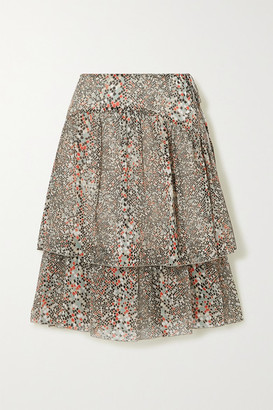 See by Chloe Tiered Printed Cotton And Silk-blend Chiffon Skirt - Ecru