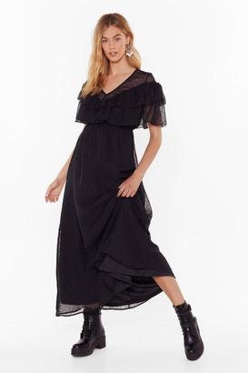 Nasty Gal Womens What Frill We Do Chiffon Maxi Dress - black - 4