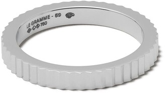 Le Gramme 18kt white gold 5g Vertical Guilloche ring