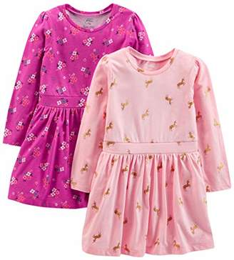 Carter's Simple Joys by Girls' Toddler 2-Pack Long-Sleeve Dress Set