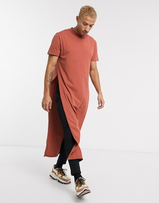 ASOS DESIGN relaxed extreme longline with extreme side splits in tan acid wash