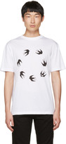 McQ White Dropped Shoulder Swallow T-Shirt