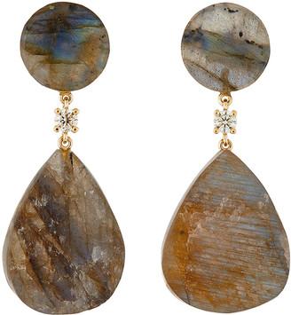 Jan Leslie 18K Bespoke 2-Tier Tribal Luxury Earrings w/ Labradorite & Diamonds
