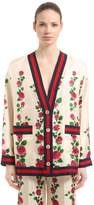 Gucci Rose Printed Silk Twill Cardigan Jacket