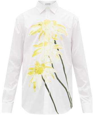 Loewe Daisy-print Cotton-poplin Shirt - Mens - White