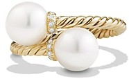 David Yurman Solari Bypass Ring with Pearls and Diamonds in 18K Gold