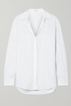 Equipment Aceline Pinstriped Linen Shirt - White