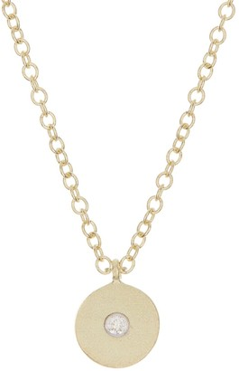 Meira T Yellow Gold Diamond Circle Pendant Necklace - 0.03 ctw