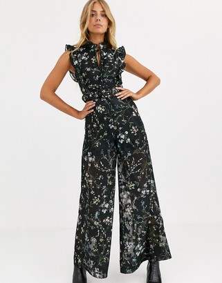 We Are Kindred Ambrosia frill sleeve floral jumpsuit