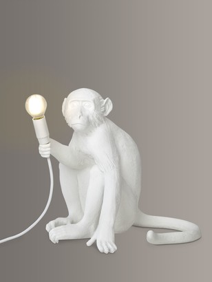 Seletti Sitting Monkey Table Lamp, White