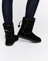 Call it SPRING Bridia Tie Back Black Nubuck Boots