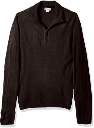 Haggar Men's Soft Acrylic Textured Diamond 1/4 Zip Sweater
