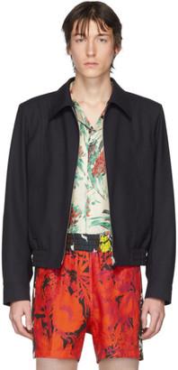 Dries Van Noten Navy Wool Zip-Up Jacket