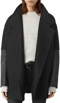 AllSaints Meade Lea Leather-Sleeve Coat