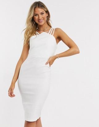 Vesper strap detail midi dress in cream