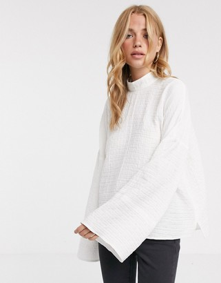 Asos Design DESIGN high neck top with wide sleeve in textured fabric-No Colour