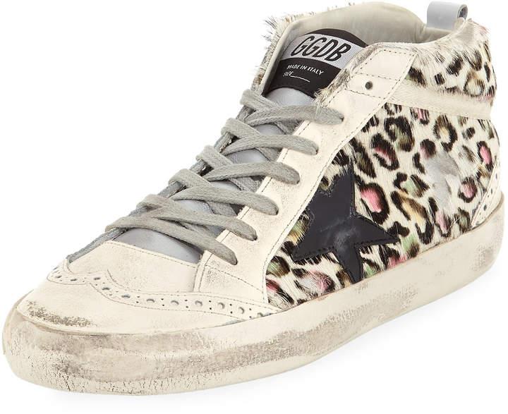 Golden Goose Superstar Leopard Calf Hair Mid-Top Sneakers