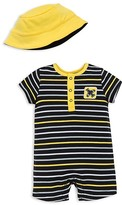 Offspring Infant Boys' Striped Airplane Romper & Hat Set - Sizes 3-9 Months