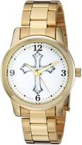 EWatchFactory Men's 'EW Cross Rnd Brac' Quartz Metal and Alloy Casual Watch, Color:-Toned (Model: 69791-A)
