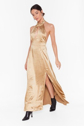 Nasty Gal Womens Feelings Don't Halter Satin Maxi Dress - Gold