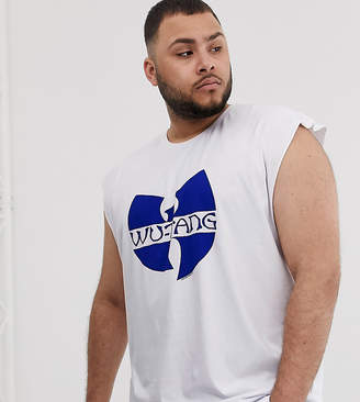 Asos Design DESIGN Plus Wu-Tang Clan oversized sleeveless t-shirt with front and back print-White