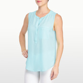 NYDJ Georgette Sleeveless Henley With Pleated Back