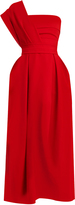 Preen by Thornton Bregazzi Ace one-shoulder pleated stretch-cady midi dress