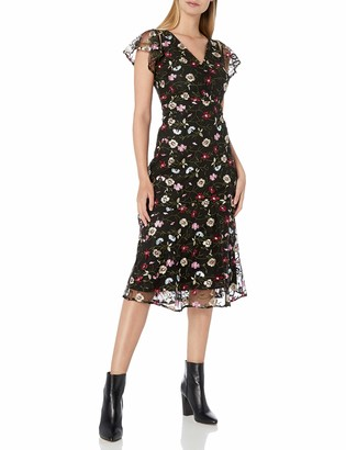 Sam Edelman Women's Short Sleeve Embroidered Mesh Midi Dress