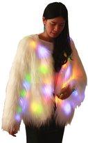 M MAYEVER Fluffy Faux Fur Warm Coat Jacket Women Shiny Led Light Up Outerwear M