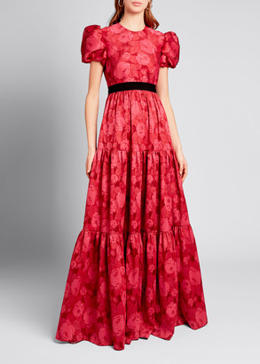 Erdem Tiered Chiffon Short-Sleeve Gown