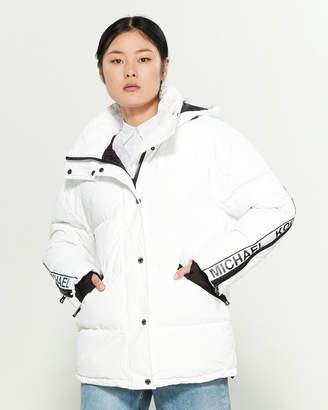 MICHAEL Michael Kors White Logo Tape Puffer Coat
