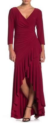 Marina Ruffled Long Slim Dress