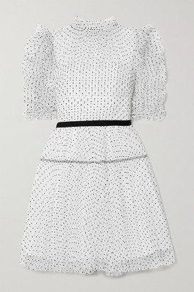 Self-Portrait Ruched Pleated Polka-dot Flocked Tulle Mini Dress - White