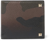 Valentino Rockstud Camouflage-Print Full-Grain Leather Billfold Wallet