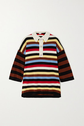 Ganni Crystal-embellished Striped Cashmere Sweater - Ivory