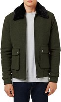 Topman Men's Flight Jacket With Faux Fur Collar