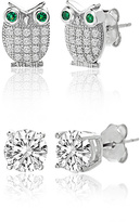 Bliss Emerald & Cubic Zirconia Owl Stud Earrings Set