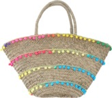Mystique Charleston Stripe Pom Straw Basket