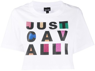 Just Cavalli cotton logo print cropped T-shirt