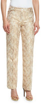 Michael Kors Jacquard Straight-Leg Pants, Fawn/Gold