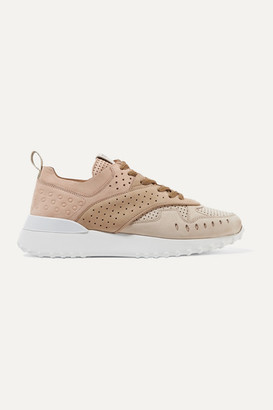 Tod's Perforated Color-block Suede Sneakers - Beige