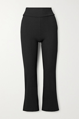 The Upside Zen Cropped Ribbed Stretch Flared Pants - Black