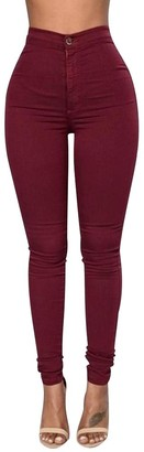 ISSHE High Waisted Jeggings for Women Skinny Stretch Trousers Womens Petite Jeggings Ladies High Rise Pants Soft Leggings Tight Stretchy Jegging Slim Fit Pencil Trouser Plus Size Wine Red S