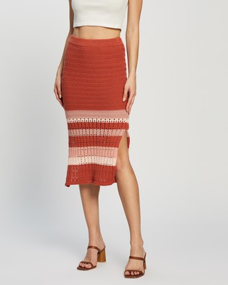 Atmos & Here Atmos&Here - Women's Red Pencil skirts - Koko Cotton Knit Skirt - Size M at The Iconic